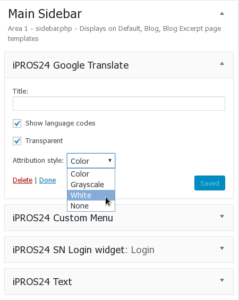 Google Translate - Widget settings